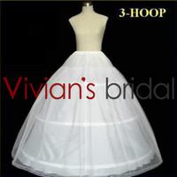 2015 Hot sale 50% Off  White 3 HOOP Wedding Dress Bone Full Crinoline Petticoat Bridal Gown Underskirt In Stock PE5