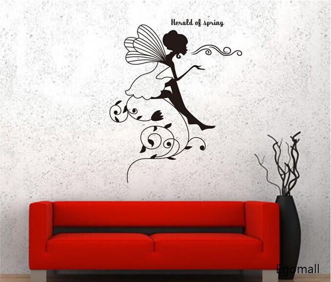 verwijderbare diy creatieve zwarte bloem faerie muurstickers babykamer ...
