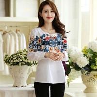 XL-5XLsize casual blusas femininas 2015 new korean style plus size loose women vintage flower print blouse shirts free shipping