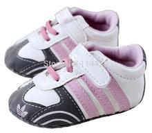 1 unidades compras de la gota blanco con púrpura rectángulo de cuero suave zapatos de los bebés de zapatillas niño suela blanda primeros caminante(China (Mainland))