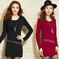 New 2014 Autumn Winter Women velvet Dress Plus Size 3XL Elegant Long Sleeve slim Hip Casual Lady Work Wear free shipping SY2778