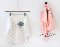 New 2015 baby girls rain dot long-sleeved shirt children kids fashion cotton undershirt A139 top quality