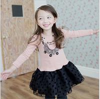 2015 Baby Girls Spring Dot Bow Ganze Long Sleeve Tutu Dress, Children Sweet Clothing, 5 pcslot, Wholesale, Free Shipping