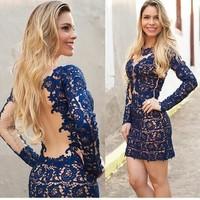 Hot European and American women new fashion dress sexy openwork lace dress