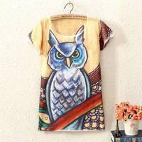 New Fashion Brand Owl Character Pattern Women T-Shirt High Quality Female Clothing Popular Harajuku Blouse
