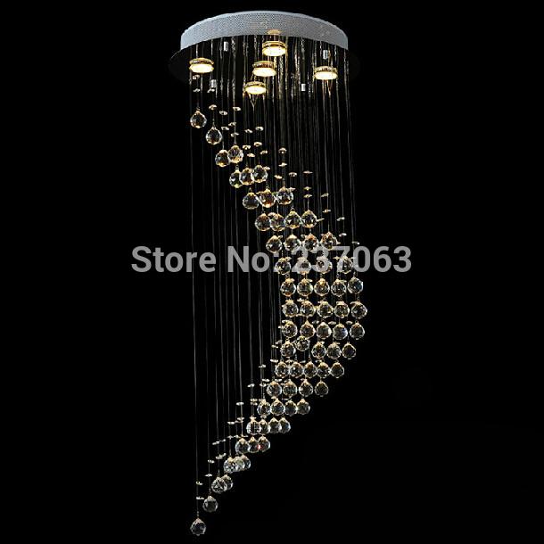 Grátis frete luxo candelabro de cristal moderno espiral início lâmpadas lustres de sala de longa escada iluminação garantia 100%(China (Mainland))