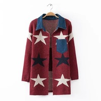 2015 European American Style Ladies Fashion Knit Outwear Five-Stars Pattern Printed Coat Women's Knitted Blazer  BO8028