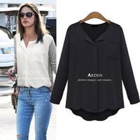 Hot Sale Fashion tropical blusas femininas 2015 Long Sleeve cotton chiffon patchwork plus size shirt women blouses tops C679