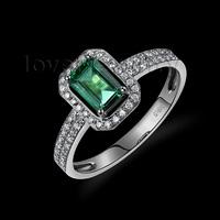 Elegant Vintage Emerald Cut 4x6mm 18kt White Gold Diamond Emerald Engagement Ring WU217