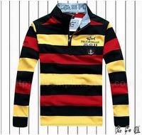 Free Shipping Paul half zipper male render unlined upper garment of ancient embroidery shark brand men's long sleeve T-shirt