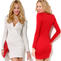 2015 new fashion women dress European and American sexy v-neck long-sleeved casual dress