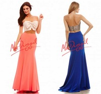 High Quality Mermaid Special Occasion Gowns Bow Floor-Length Satin Prom Gowns Sexy ZY315