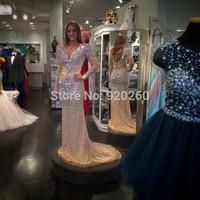 Luxury Crystal Beaded V-neck Long Sleeves Champagne Mermaid Dress Evening Prom Gowns 2014 Vestido Longo Renda