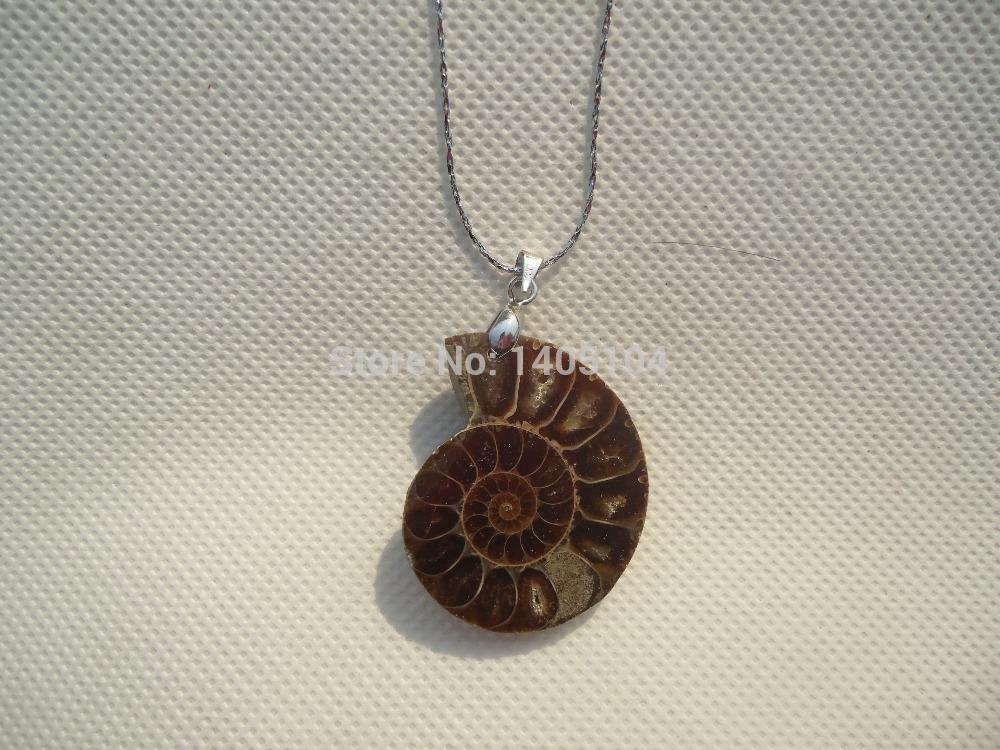 Ammonite Fossil Inlay Pendant Stone Neckalces Pendulum Snake Chain Healing Chakra Reiki Fashion Jewelry Free shipping(China (Mainland))