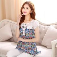 L-4XLsize blusas femininas 2015 new korean fashion plus size loose vintage print women shirts blouses free shipping