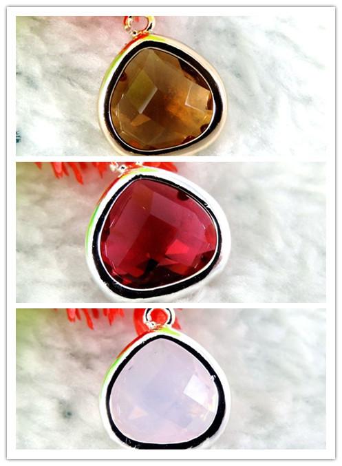 Wholesale 2PCS Women Peach Shape Crystal Glass Gem Filled Gold Tone Copper Pendant Charms 3 Colors(China (Mainland))