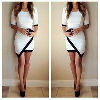 Sexy Women Dress 2015 New Fashion Half Sleeve Bandage Bodycon Hip Dresses Plus size, Black White Khaki Patchwork vestidos