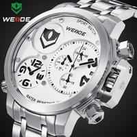 Watch men luxury brand WEIDE sports military watches 3ATM quartz analog calendar dual time display male clock12 month guarantee
