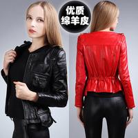 Genuine sheepskin leather clothing female short slim design genuine leather clothing women's leather clothing outerwear leather
