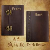 Cowhide diary a5  loose-leaf travel book of vintage notepad horn lock handmade tsmip