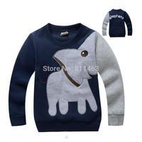 2015 boys O-neck elephant print plus velvet thick hoody / cute kids pullovers / children spring autumn clothes boys
