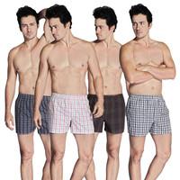 Group-buying!!!!! High Quality 4 pieces/lot plaid 100% Cotton Cueca Men's Woven Underwear Men Boxer Shorts Sizes ( M-XXL)