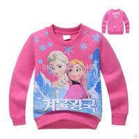 6 pcs/lot / girls O-neck rose red frozen pattern plus velvet thick hoody / kids pullover sweatshirt / children clothes girls