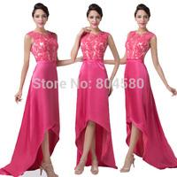Best Sales Grace Karin Lace Appliques Bandage dress Short Front Long Back Evening Gown Prom dresses 2015 Satin CL6246