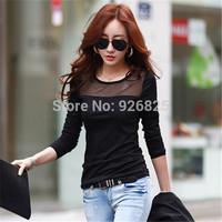 New 2014 Hot Europe Women Shirt Thick Cotton Wool Slim Patchwork Lace O Neck Long Sleeve Fashion High Quanlity Bottom Shirt