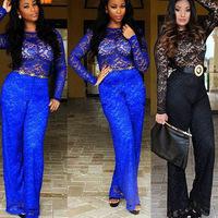 2014 Winter Hot Sale Ladies Jumpsuit Sexy Fashion Blue Black Lace Rompers Women Nightclub Sheer Bandage macacao feminino