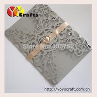 Unique paper elegant flower lace hot sale 2015 wedding invitation cards