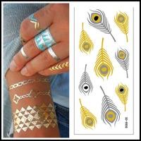 Hot New Craft Supplies Body Art Metal Tattoo 5 pcs/lot Flash Jewelry Inspired Golden Choker Tattoo Sticker Waterproof Safe