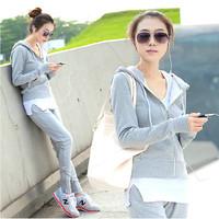 Plus size clothing casual set outerwear slim piece set long sleeve length pants clothes sports set