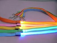 Fashion dog leash pulling rope noose dog collars, new cat dog candy -color LED rope, 120cm long, wholesale free shipping