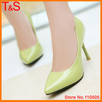Large size 9 10  Fashion Thin High Heel Pumps Lady's Causal Patent Leather Pointed Toe Candy Color Shoes 056B-30R