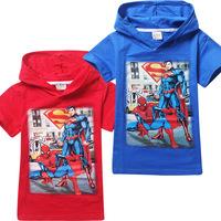 2015 Hot boys cartoon spider-man t-shirts kids summer printed superman cotton t shirt children's leisure hooded tees tops