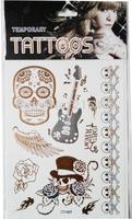 Top selling skull tattoo, skull design tattoo sticker, guitar tattoo sticker new, Free shipping tattoo sticker 1 piece per lot