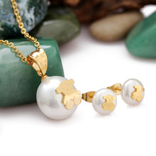 Fashion Gold Little Bear Pendant With Chain Necklace & Stud Earrings Pearl Jewelry Sets For Women Luxury Nigerian Wed Jewelry(China (Mainland))
