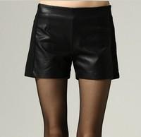 Black Patchwork PU Leather Shorts Women Plus Size 3XL 4XL 5XL European Style 2015 Spring Autumn Winter Fashion Big Sizes