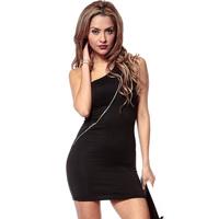 Women Fashion Black Short Style Dress zipper Sleeveless Backless Slim Waist  Party Dress Tight skirt  D610