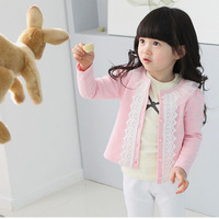 Fashion Resuli New baby clothing Cardigan jacket children outerwear Girls Kids Lace Coat Long Sleeve Outwear Clothes Pink Resuli