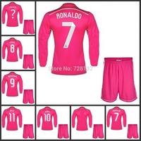 Top quality 2015 Real Madrid away pink long sleeve Soccer Jersey set ,14-15 JAMES cristiano ronaldo Bale RAMOS football uniform