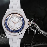Women Dress Watches Colorful Rhinestone Quartz Clock White Fashion Full Steel Watch Ladies Female Wristwatches montre femme