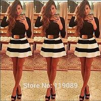 Fashion Ropa 2015 Feminino Women Sexy Stripe Print Dresses Club Party Cocktail Vestidos De Festa Bodycon Mini Renda Office HBQ29