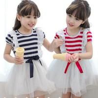 2015 New Children Clothing Short Sleeve Stripe Layer Gauze Girl Lace Princess Dress Korean Summer Baby Kids Tutu Dress TR46