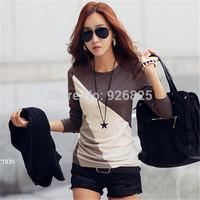 New 2014 Hot Europe Women Shirt Casual Slim Bottom Cotton Long Sleeve O Neck Patchwork Contrast Color Fashion High Quanlity