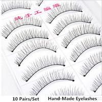 10 Pairs/Set Hand Made Full Strip Fake False Eyelashes Natural Long Fiber Black Stem Eye Lash Beauty Health Makeup Tools