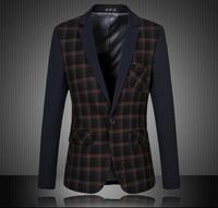 Hot-Selling 2015 Blazer Men Hight Quality Patchwork Plaid Men Suit Jacket Fashion Men Blazer Slim Fit Plus Size 4XL 5XL 6XL