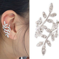 Hot sales New Fashion 2014 Women's Punk Rock Retro Earring Crystal Leaf Ear Cuff Warp Clip Ear Stud for women free shipping