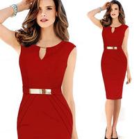 Elegant Sleeveless Bodycon Dress Summer Dress Casual Office Ladies Dress  Navy Red